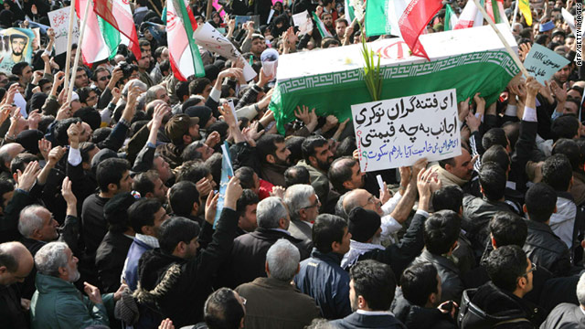 People carry the coffin of Saneh Jaleh during his funeral Wednesday in Tehran. Jaleh died in anti-government protests Monday.