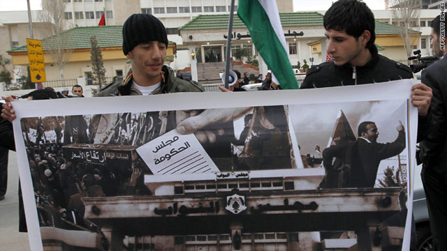 Anti-government protesters, shown February 9, have demonstrated frequently in recent weeks.