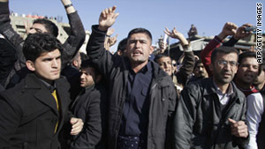Clashes Saturday between police and protesters in Iraq's autonomous Kurdish region left 14 people injured.