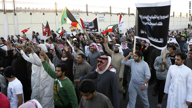 Protesters demanding more rights for noncitizens march in Sulaibiya, Kuwait, on Saturday.