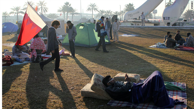 Anti-government protesters camp at Manama's Pearl roundabout, February 20, 2011, after security forces pull out.