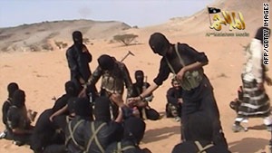 A screen shot of a video posted on the Internet in 2010 shows militants from al Qaeda in the Arabian Peninsula.