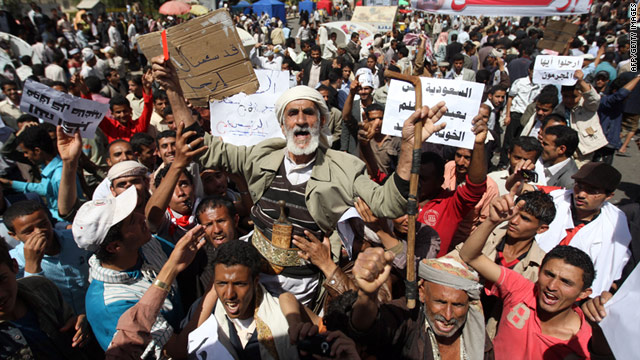 Protesters call for the ouster of Yemeni President Ali Abdullah Saleh during a demonstration in the capital Sanaa on Monday.