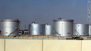 Storage tanks at the Saudi Aramco oil facility in Dammam city.