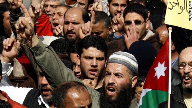 Pro-government and anti-government demonstrations took place in the center of Amman, Jordan, on Friday.
