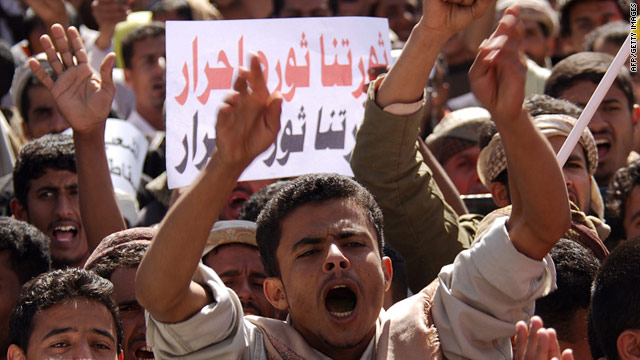 Thousands of protesters demonstrate against Yemeni President Ali Abdullah Saleh in Sanaa on February 24.
