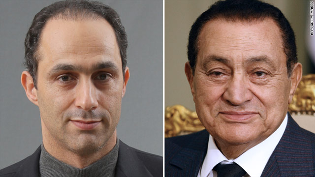 Hosni Mubarak (R) and his family, including son Gamal (L), were prohibited from leaving Egypt on Tuesday.