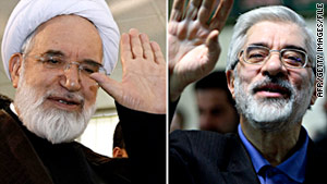 Iranian opposition leaders Mehdi Karrubi, left, and Mir Hossein Moussavi are the subject of arrest rumors.