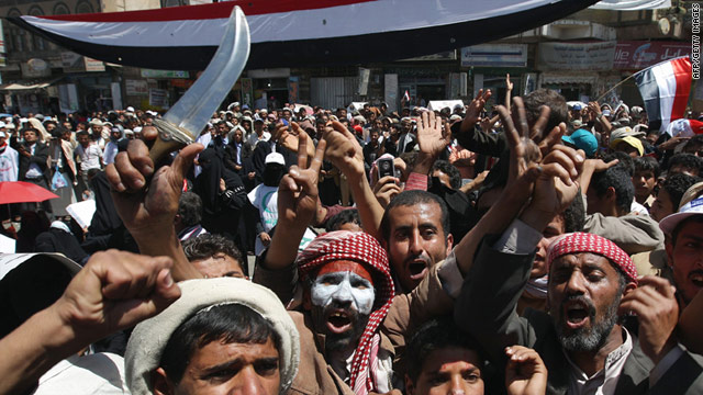 Yemeni protesters demonstrate against President Ali Abdullah Saleh during a massive anti-regime rally in Sanaa on Wednesday.