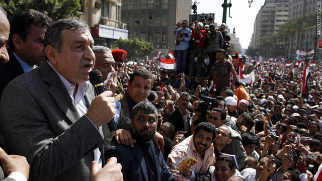 New Egyptian Prime Minister Essam Sharaf addressed thousands of demonstrators in Cairo's Tahrir Square on Friday.