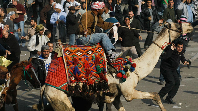 Mubarak's supporters rode horses and camels into crowds of anti-government protesters in Tahrir Square last month.