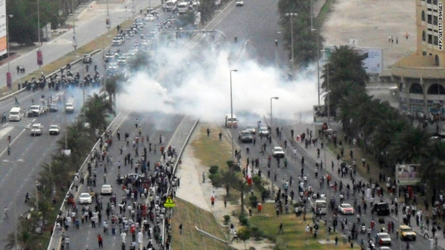 Bahraini police fired tear gas to disperse protesters demonstrating near Pearl Square on Sunday.
