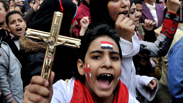 Thousands of Coptic Christians have protested outside the Egyptian state broadcast office for nine consecutive days.
