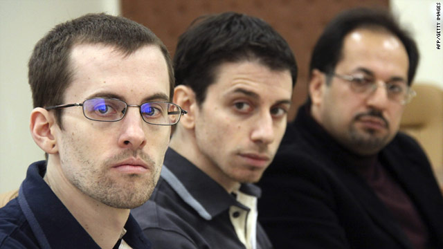 A picture from Iran's Press TV shows US hikers Shane Bauer (L) and Josh Fattal (C), detained in Iran on spying charges.