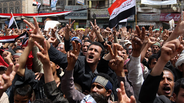 Yemenis protest against the regime of President Ali Abdullah Saleh in Sanaa on Monday, March 14.