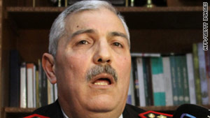 Syrian General Mohammed Hassan Ali speaks to reporters after security forces dispersed a protest on March 16.