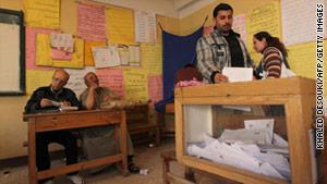 A man votes at a polling station in Mansura, Egypt, on March 19, 2011.