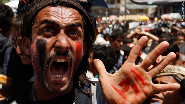 A Yemeni protester demonstrates against President Ali Abdullah Saleh on Thursday, March 24 in Sanaa.