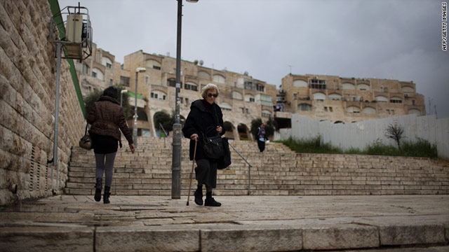 Israelis are seen in East Jerusalem's Jewish settlement neighbourhood of Gilo on Monday ahead of a housing vote.