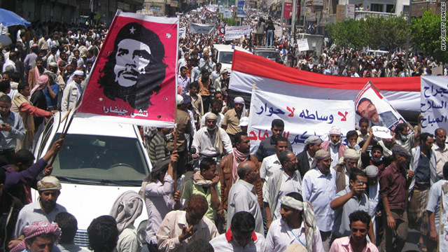Thousands of Yemenis protest in a fresh call for President Ali Abdullah Saleh to resign in Taiz on Wednesday, April 6.