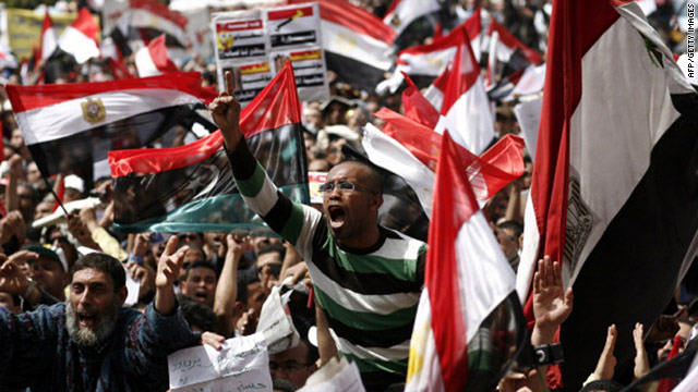 An Egyptian demonstrator shouts slogans during protests in Cairo's Tahrir Square on April 1.
