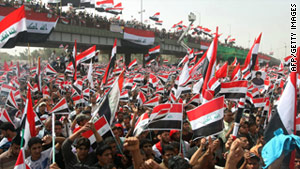 Iraqis protest on the eighth anniversary of the fall of Saddam Hussein's regime against the American troop presence in Iraq.