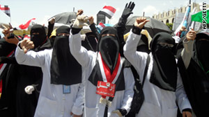 Yemeni women on an anti-government demonstration in the capital Sanaa on Saturday.