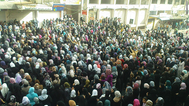 An image sent to CNN by an anonymous Syrian activist shows women protesting in Baniyas on Saturday, April 16.