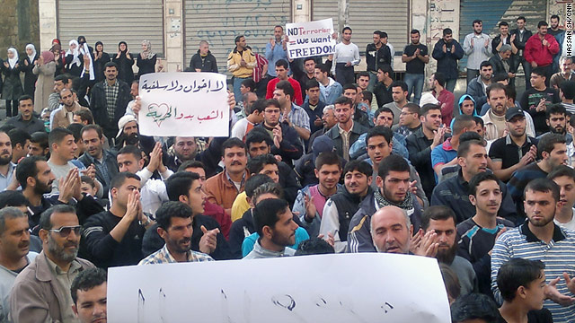 Protesters gathered to demonstrate against the government of Bashar al-Assad on Tuesday, April 19 in Banias.