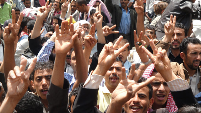 Protesters in Yemen's Ibb province calling for President Saleh to step down, on April 15, 2011.