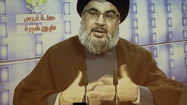 The report says Hezbollah leader Hassan Nasrallah -- seen here in 2010 -- met with members of Shiite organizations in Bahrain.