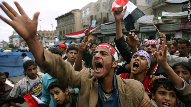 Protesters in Yemen have demanded President Ali Abdullah Saleh's removal. Here, demonstrators march in Sanaa this month.