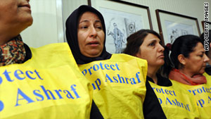 Relatives of residents of Camp Ashraf in Iraq at a press conference in Washington on April 8.