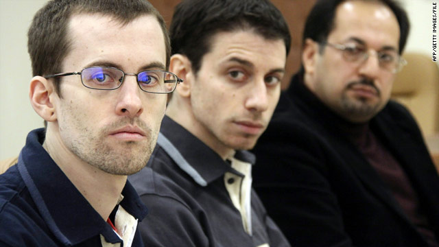 U.S. hikers Shane Bauer, left, and Josh Fattal, center, are detained in Iran on spying charges.