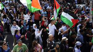 "Israeli Arabs near Tel Aviv, on May 14, 2011, mark ""Nakba Day,"" when Arabs were displaced from their homes."