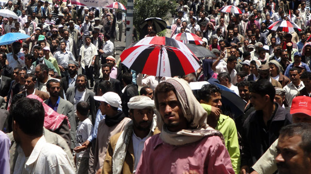 Thousands of Yemeni protesters demonstrate against President Ali Abdullah Saleh in the city of Ibb on Wednesday.