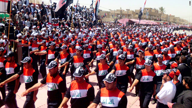 Tens of thousands of followers of Shiite anti-American cleric Muqtada al-Sadr rally in Sadr City in eastern Baghdad Thursday.
