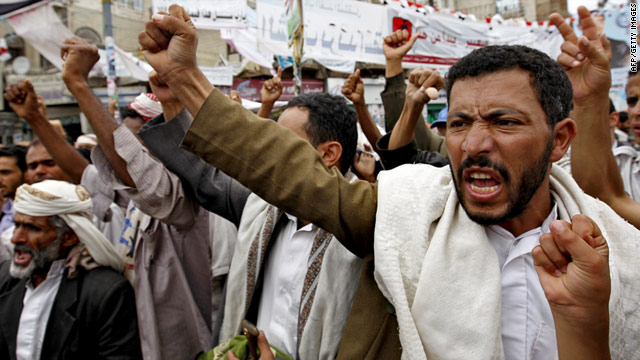 Protesters shout during a demonstration calling for the ouster of President Ali Abdullah Saleh in Sanaa on Wednesday.