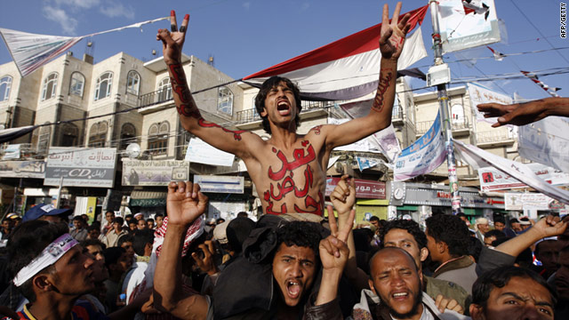 Yemenis proest during a demonstration calling for the ouster of President Ali Abdullah Saleh in Sanaa on Tuesday, May 31.
