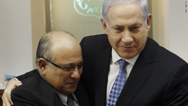 Israeli Prime Minister Benjamin Netanyahu (R) with former Mossad director Meir Dagan in Jerusalem on January 2.