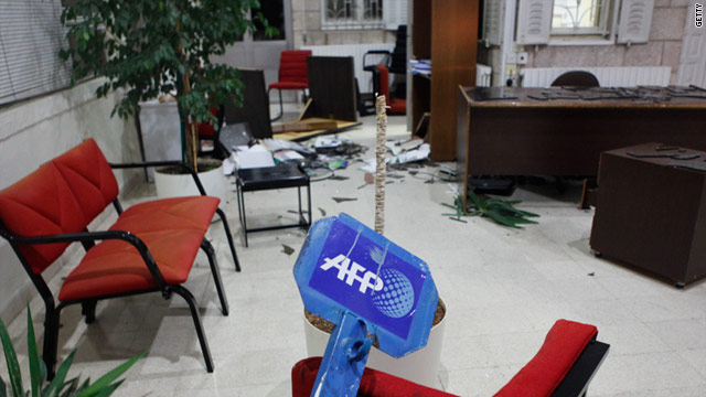 Men armed with sticks broke into the AFP officein Amman on Wednesday, shattering windows and destroying furniture.