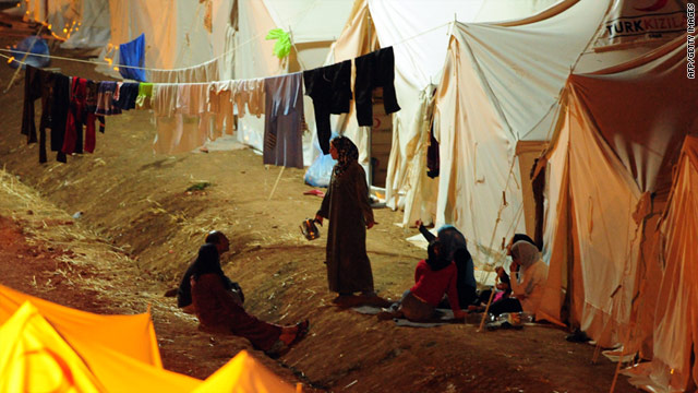 Syrian refugees in a Turkish Red Crescent camp in the Yayladagi district of Hatay, close to the Syrian border, on June 19, 2011.