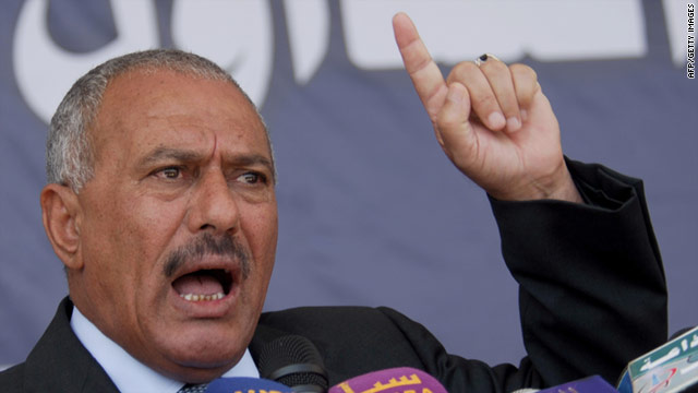 File picture dated March 10, 2011 shows Yemeni President Ali Abdullah Saleh addressing loyalists in the capital Sanaa.