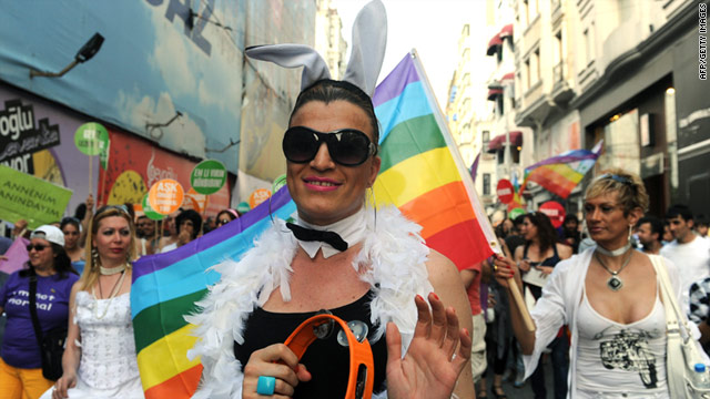 Revelers walk the streets Sunday at the ninth annual Turkish Gay Pride Parade, the only march of its kind in a Muslim country.