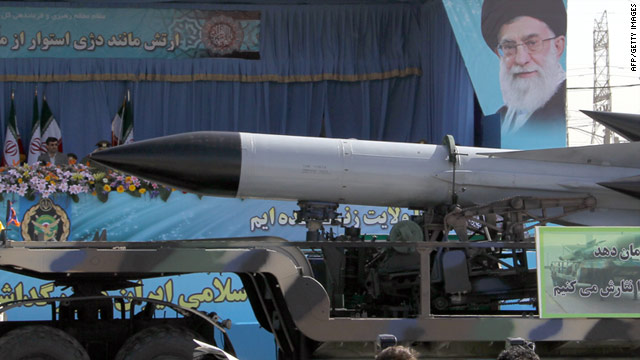 An air defense missile is displayed during the Army Day parade in Tehran on April 18.