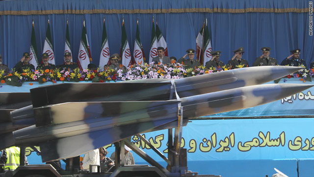 An air defence missile is driven past Iranian President Mahmoud Ahmadinejad during Iran's Army Day parade on April 18.