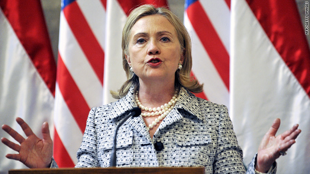 "Secretary of State Hillary Clinton says the U.S. is willing to talk to those who are ""peaceful and committed to nonviolence."""