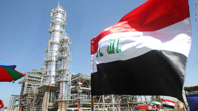 The Iraqi flag flutters at the opening of the second refinery for crude oil in Al-Dora complex in Baghdad on September 16, 2010.