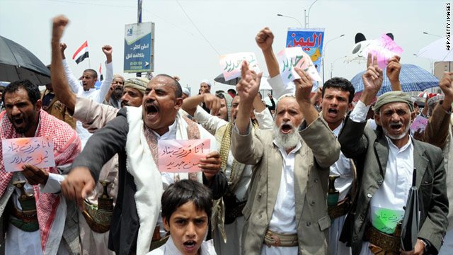 Yemeni anti-government protesters shout slogans against President Ali Abdullah Saleh during a demonstration in Sanaa on July 1.