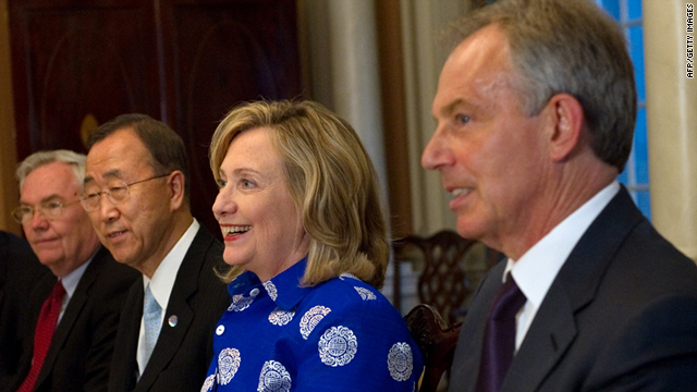 U.S. Secretary of State Hillary Clinton (C) with Mideast Quartet members in Washington on Monday.